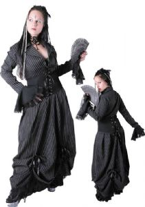 Gothic Long Dress~ Black and white pinstripe dress~ Corset middle with lace sleeves~ 1512